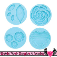 Romantic Martha Stewart SILICONE MOLD Rose, Leaves, Scalloped Heart, & Flowers