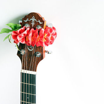 guitar accessories / Ribbon lei for guitar / pink plumeria / music gift / guitar display