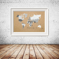 Custom Quote, Custom Size Printable Rustic World Map in shades of grey with kraft paper background, gallery wall decor, home decoration