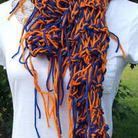 Knit Denver Bronco Color scarf. Colorado. Boise State Color. Broncos. Idaho. Disheveled Scarf. Made by Bead Gs on ETSY.