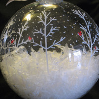 Hand Painted Glass Christmas Ball Ornament -  Large Cardinal Snow scene