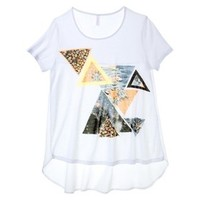 Xhilaration® Junior's Graphic Knit to Woven Tee