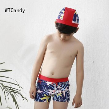 WTCandy Chlid Swimwear Boy Children Trunks with Swimming Cap Print Starfish Boxers Kids Patchwork Swimsuit Beach Bathing Suit
