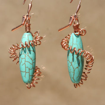Copper Wrapped Magnesite Earrings by LesleyPridgen on Etsy