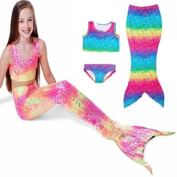 Kids Girls Rainbow Color Swimmable Mermaid Tail Swimsuit Set Swimwear