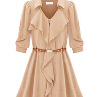 Half Sleeve Pointed Flat Collar Belted Chiffon Ruffled A-line Mini Skater Dress