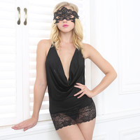On Sale Hot Deal Cute Deep V Black Sexy Backless Exotic Lingerie [6595578947]