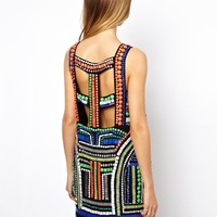 ASOS | ASOS Tribal Embellished Cage Shift Dress at ASOS