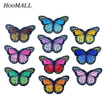 Hoomall 5PCs Iron On Patches For Clothing Multicolor Butterfly Embroidery Patch Appliques Badge Stickers For Clothes 4.2cmx7.4cm