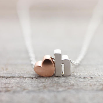 Custom lower case initial with rose gold heart silver necklace