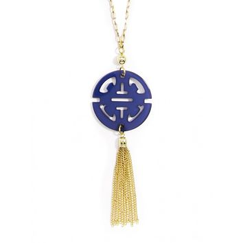 ZENZII Resin Traveling Tassel Necklace