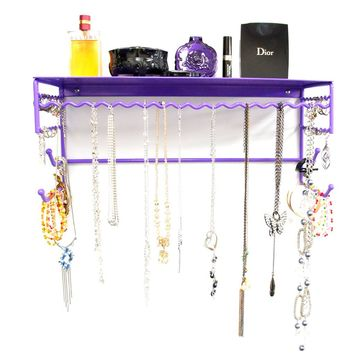 """Purple 17"""" Wall Mount Jewelry & Accessory Storage Rack Organizer Shelf for Earrings, Bracelets, Necklaces, & Hair Accessories:Amazon:Home & Kitchen"""