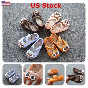 US Summer Fashion Cute Owl Ankle Strap Kids Girls Jelly Shoes Soft Flat Sandals
