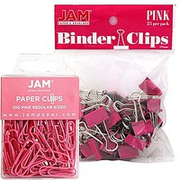 JAM Paper® Office Desk Supplies Bundle, Pink, Paper Clips & Binder Clips, 1 Pack of Each, 2/pack (218334pi) | Staples