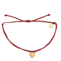 Pura Vida - Gold Heart Bracelet | Candy Apple Red