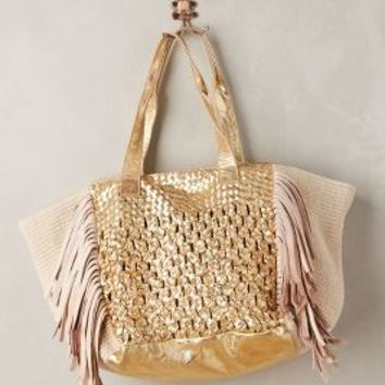 Meriska Fringed Tote by Claramonte Gold One Size Bags