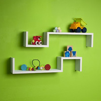 """S"" Wall Mount Shelf (Set of 2) Finish: White"