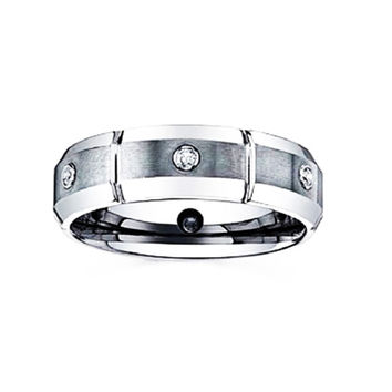 Tungsten Unisex 1/2 Ct Cubic Zirconia Wedding Band Designed In France