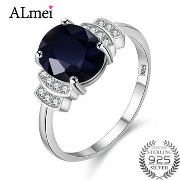 Almei Created Dark Blue Oval Sapphire Ring Women Party Wedding Set Pure 925 Sterling Solid Silver Fine Jewelry with Box 10%CJ008
