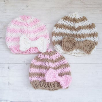 Striped Hand Knitted Newborn Hat / Baby Girl Hat / Newborn photo props / Bow Hat / baby Clothing / White, Pink, Brown, Stripes