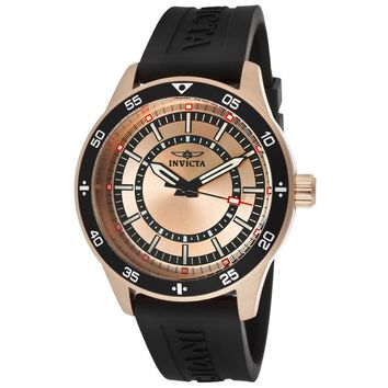 Invicta 14336 Men's Specialty Rose Gold Dial Rose Gold Steel Black Rubber Strap Watch