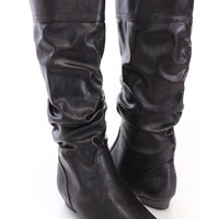 Black Slouchy Flat Boots Faux Leather
