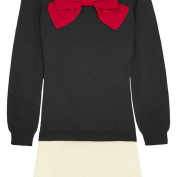 Bow-embellished wool mini dress | BOUTIQUE MOSCHINO | Sale up to 70% off | THE OUTNET