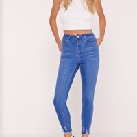 Missguided - Petite Sinner High Waisted Destroyed Hem Jeans Electric Blue