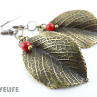 Leaf Earrings - Antique Gold / Bronze Leaf Earring - Dangle Earings - Boho Woodland Jewelry - Gift for Nature Lover