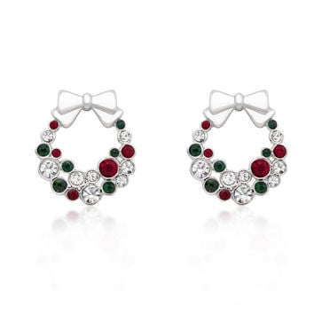 Holiday Wreath Colored Crystal Earrings