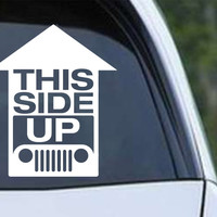 Jeep - This Side Up Funny Die Cut Vinyl Decal Sticker