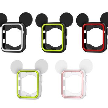 SANYU Mickey cartoon watch protector For Apple Watch case 42mm 38mm iWatch case 3 2 1 Mouse ears Soft Silicone cover shell