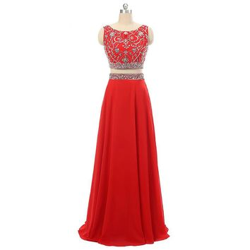 Charming Red Two Piece Evening Dress Scoop Backless Chiffon Beaded Long Evening Dresses A Line Floor Length