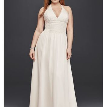 Plus Size Lace Sheath Halter Wedding Dress - Davids Bridal