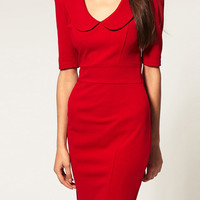 [US$25.99] - Low Lapel Slim Half Sleeve Dress : ThatsPoint.com