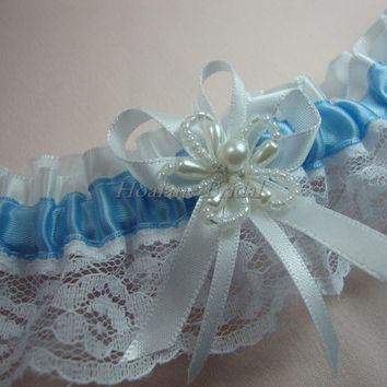 Lace Garter, blue ribbon with white lace garter, wedding/Prom garter
