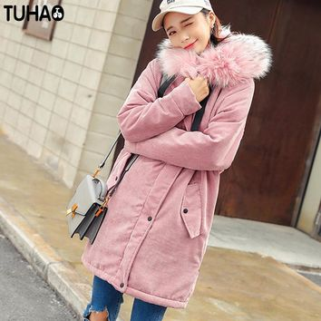 TUHAO 2017 New Women Long Winter Corduroy Jacket Thick Warm Coat Pure Color Hooded Fur Collar Female Parkas Fashion Outwear LW07