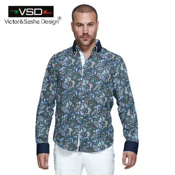 Fashion 7 Style Men's Flower Printed Shirts Long Sleeve Men's Shirt Home