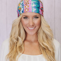 Cotton Aztec Head Wrap - three bird nest
