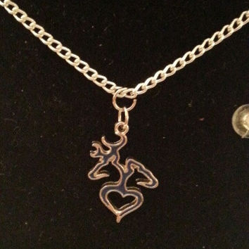 Blue browning buck and doe back to back heart style necklace, earrings, key ring, set jewelry