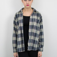 Vintage Blue and Gray Plaid Flannel Shirt