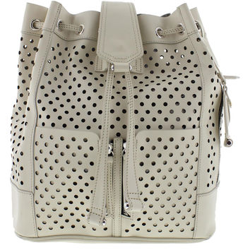 Olivia Harris Womens Leather Perforated Backpack