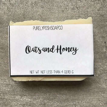 Oatmeal Honey Soap- Gentle Soap, Unscented Soap, Exfoliating Soap, All Natural Soap, Bar Soap, Cold Process Soap