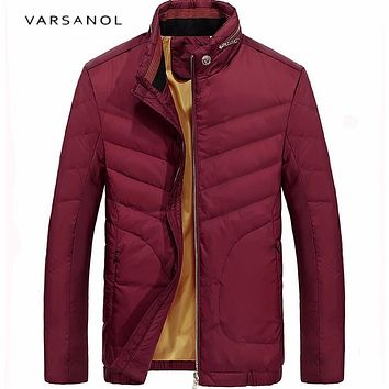 Varsanol 2017 New Casual 80% White Duck Down Jacket Men Winter Warm Jackets Long Sleeve Zipper Coat Plus Size Brand Clothing Hot