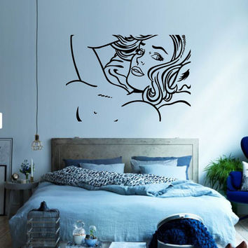 """Pop Art inspired by Roy Lichtenstein """"Seductive Girl"""" removable vinyl wall decal for your livingroom and bedroom wall art decor"""