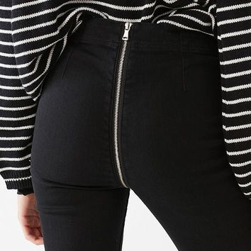 BDG Kick Flare High-Rise Cropped Jean – Zipper Back | Urban Outfitters