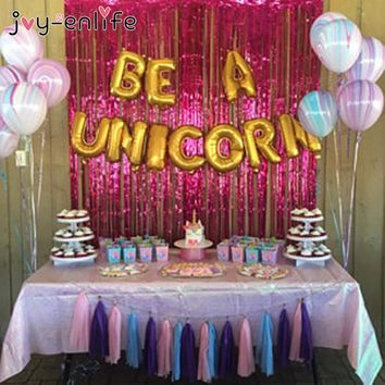 "JOY-ENLIFE 10pcs/lot Enligsh Letters ""Be A Unicorn"" Aluminum Foil Balloons Photo Props Baby Shower Kids Birthday Party Decor"