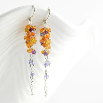 Long gemstone cluster earrings in sterling silver