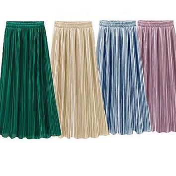 DCCKO03T Vintage Women Metallic Luster Stretch High Waist Plain Skater Flared Pleated Long Skirt Gold Sequined Skirts