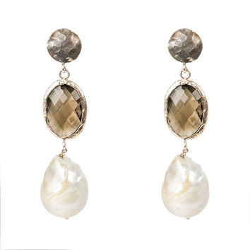 Hydra Baroque Pearl and Smokey Quartz Earring Rosegold